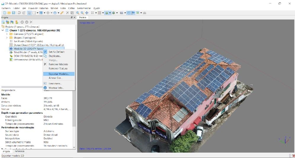 Figura 7: Modelo 3D construído no software Agisoft Metashape