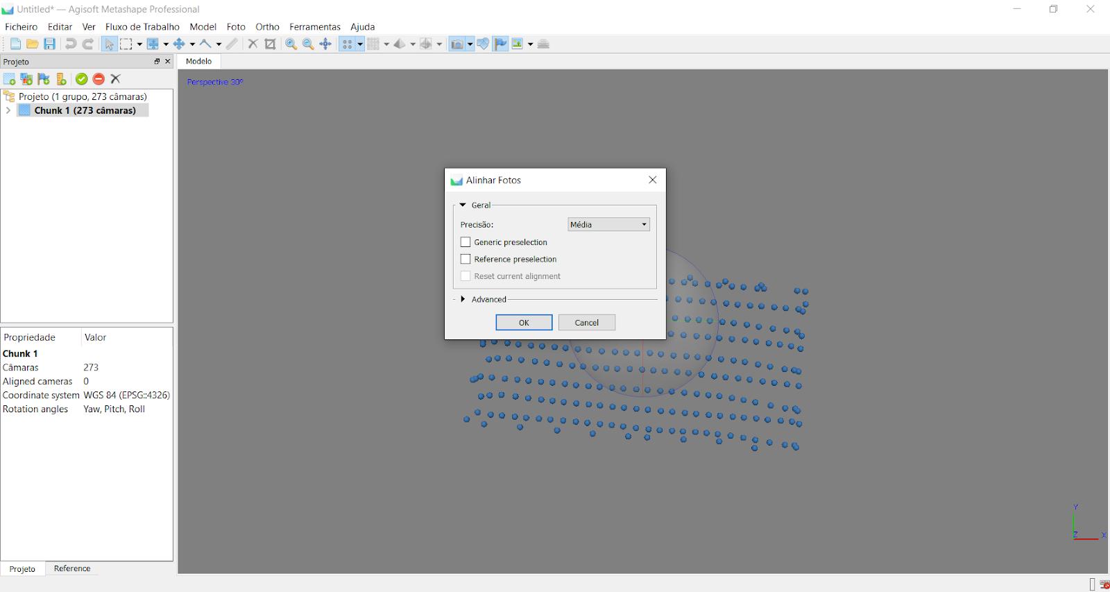 Figura 5 Alinhamento das imagens para processamento no software Agisoft Metashape.