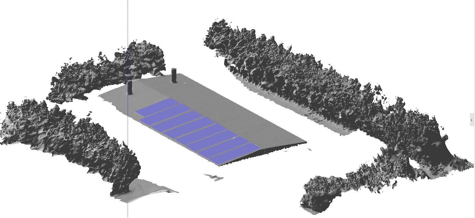 Figura 6 Modelo 3D usado no PVSyst para a análise de sombreamento.