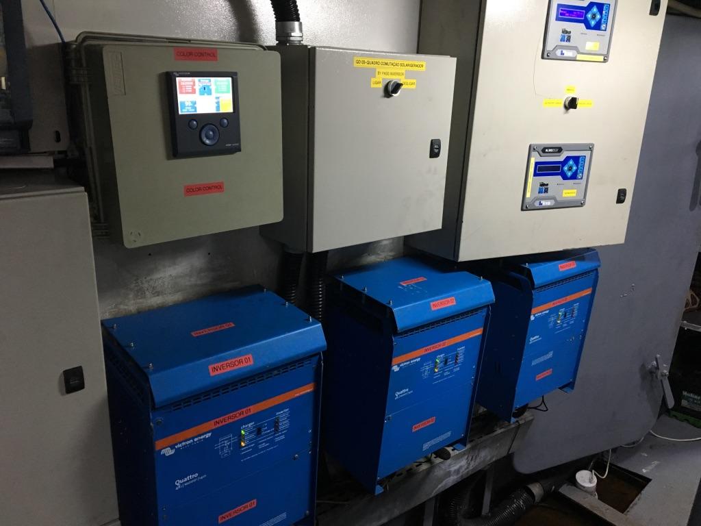 Sala elétrica inversores color control chave bateriaxgerador