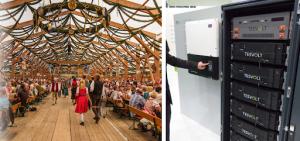 Figura 4 - Sistema com baterias atuando com peak shaving na Oktober Fest em Munique, Alemanha, com inversores SMA e baterias Tesvolt. Esta aplicação já é possível no Brasil. Fonte: Tesvolt/reprodução